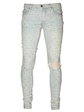 Rainbow crystal skinny denim jean BONE INDIGO
