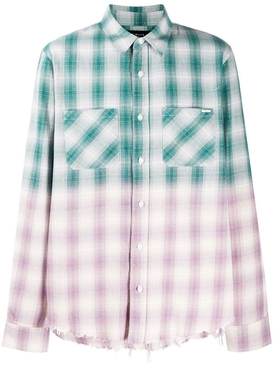 Distressed Ombre Plaid Button-Down GREEN