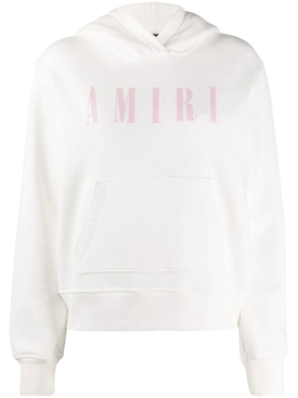 White logo print hoodie