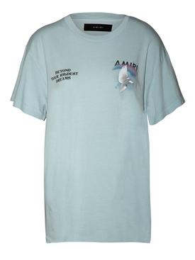 Amiri - Rainbow And Dove Logo T-shirt Light Blue - Women