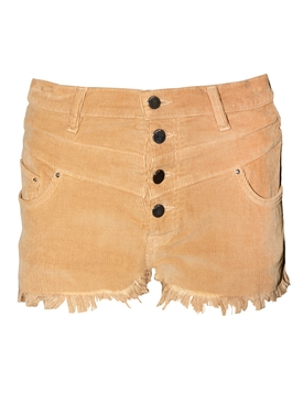 High-waisted corduroy shorts BROWN