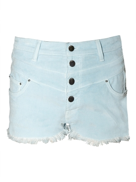 High-waisted corduroy shorts LIGHT BLUE