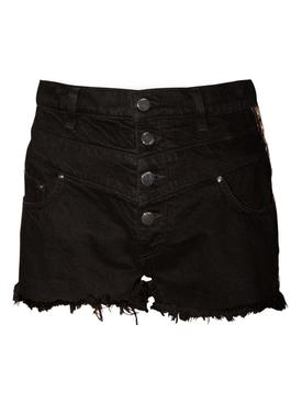 High-waisted frayed hem shorts BLACK