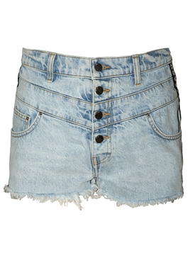Amiri - High-waisted Frayed Hem Shorts Sky Indigo - Women