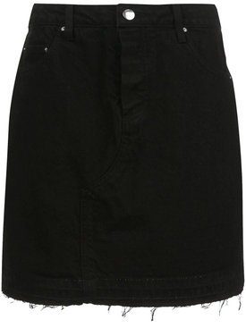 Black raw-edge denim skirt