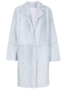 Yves Salomon - Faux Fur Overcoat Blue - Women