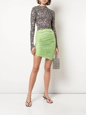Knitted side Tucked Skirt GREEN BLUE
