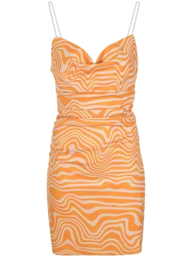 Orange and beige print mini dress