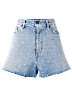spotted back denim shorts Blue