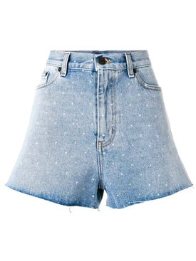 Saint Laurent - Spotted Back Denim Shorts Blue - Women