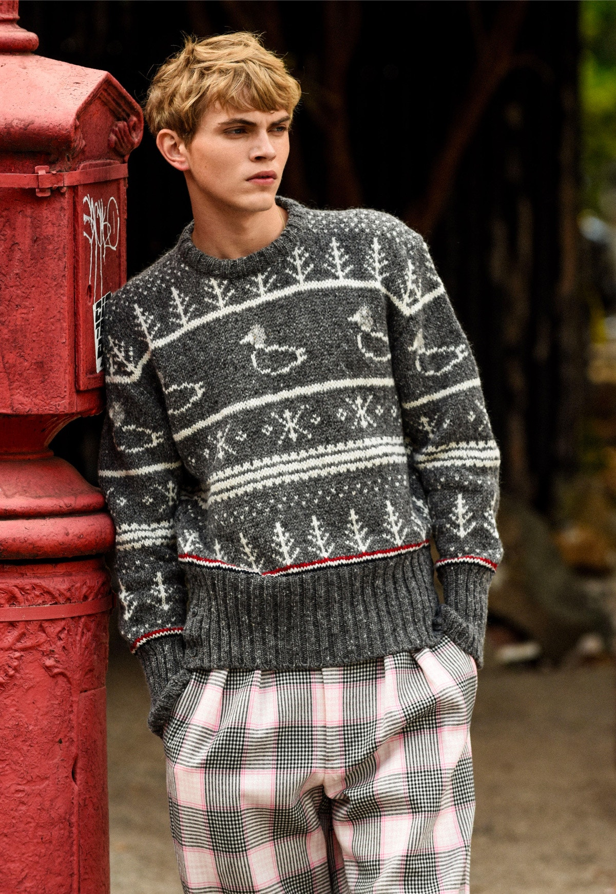 THOM BROWNE Striped Duck Icon Pullover and Plaid Trousers – GUCCI Earring