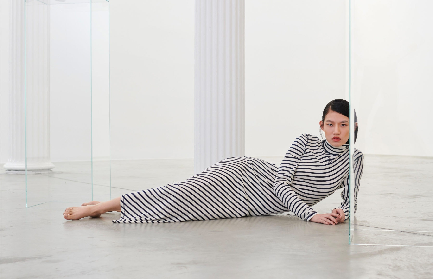 LOEWENavy And White Striped Dress
