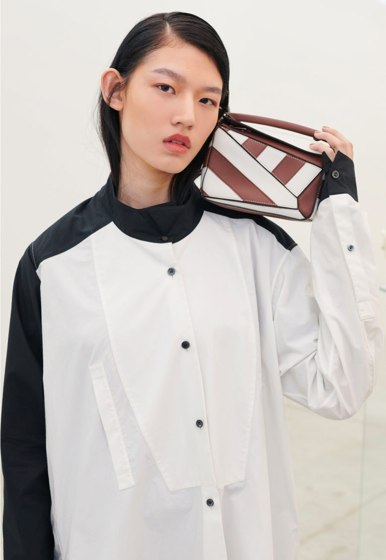 LOEWE Black And White Asymmetric Shirt – Puzzle Rugby Mini Bag