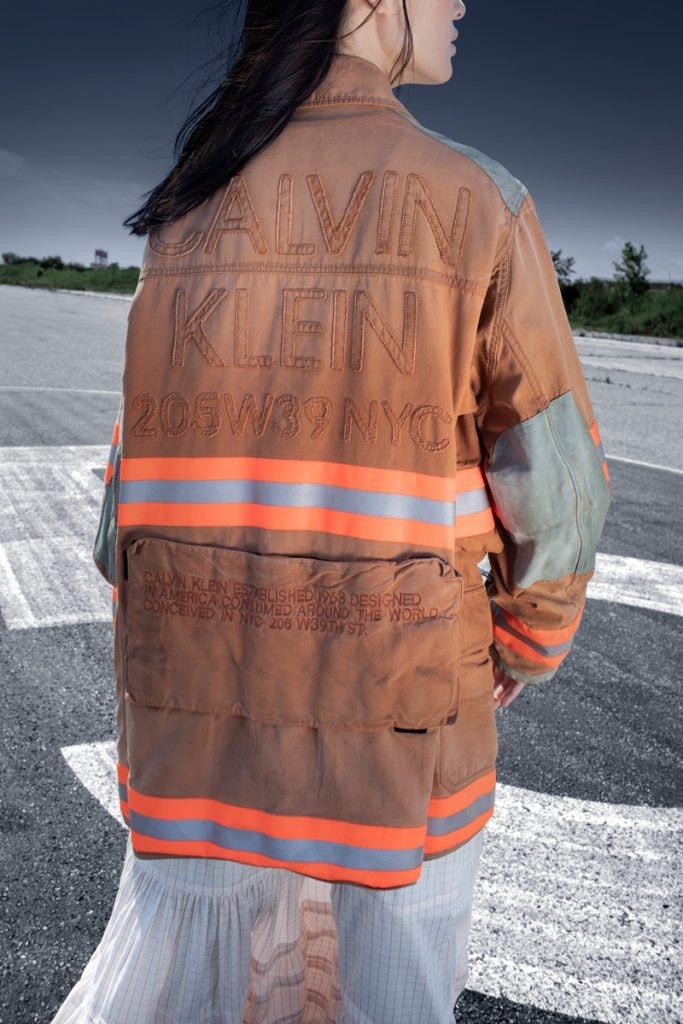 CALVIN KLEIN 205W39NYC Distressed Fireman Jacket, CALVIN KLEIN 205W39NYC Pioneer Skirt