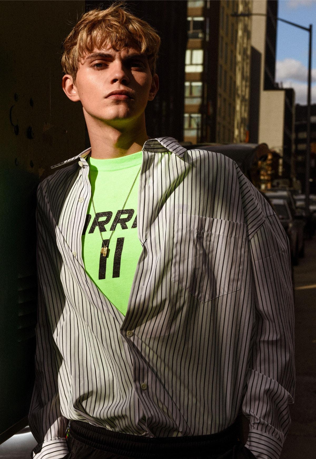 AMI ALEXANDRE MATTIUSSI Striped Shirt – ENSEMBLE Shirt – THE ELDER STATESMAN Cardigan - SSS WORLD CORP Pants