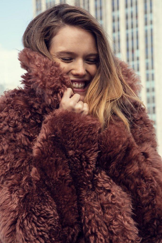 YVES SALOMON Fur Coat, ACNE STUDIOS Avalon Coat, THE ROW Turtleneck, CÉLINE Trousers