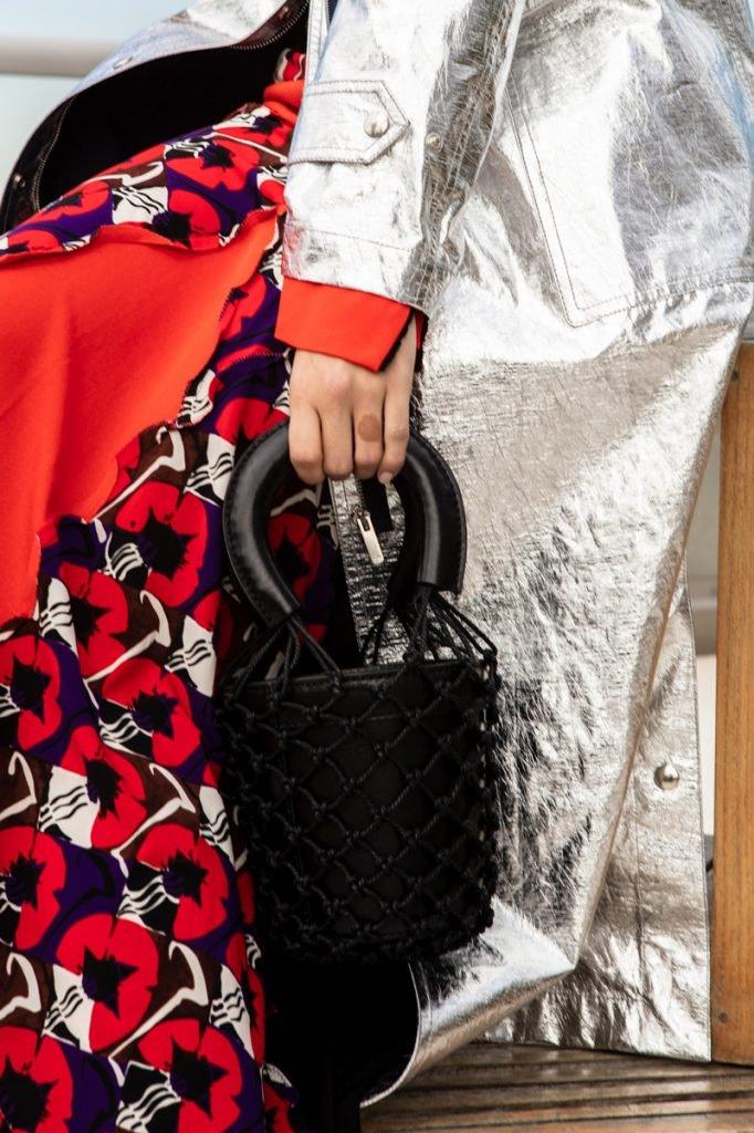 DIOR Coat, MARNI Patchwork Midi Dress, STAUD Moreau Bag
