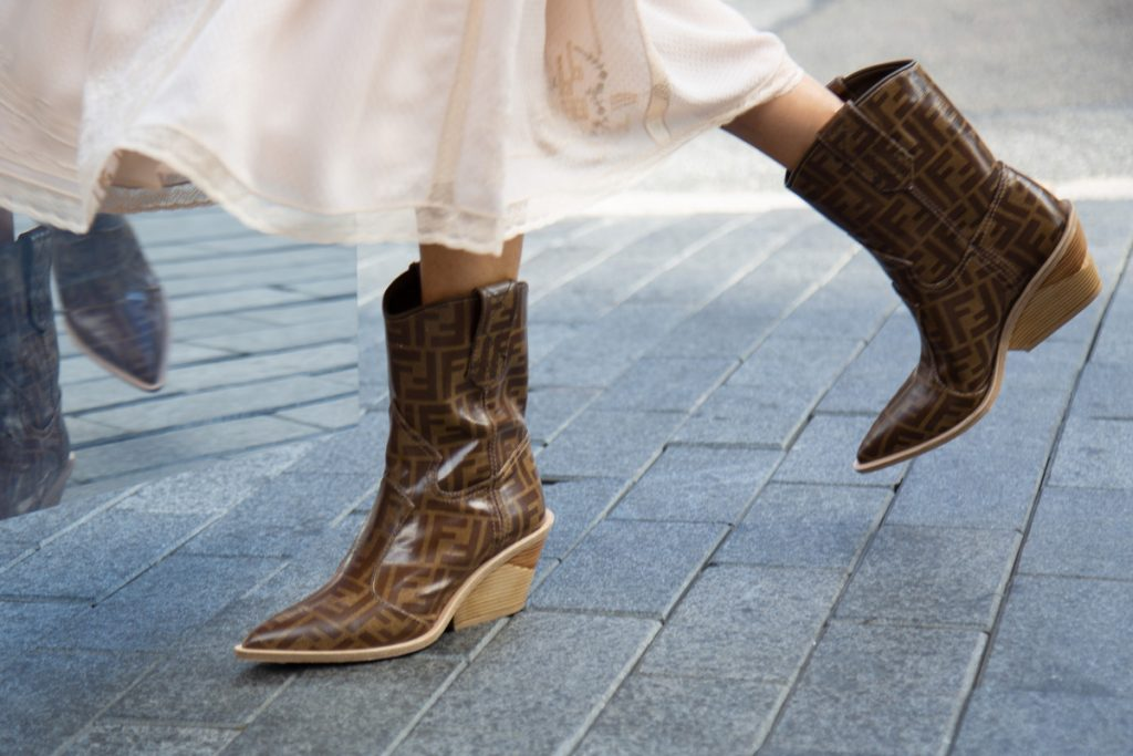 Fendi FF Cutwalk Boots, FENDI Polka Dot Midi Skirt