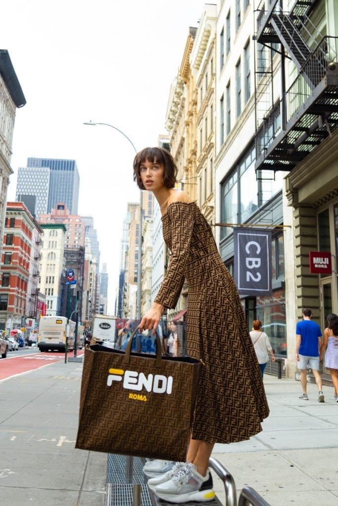 FENDI Monogram Dress, FENDI Sneakers, FENDI Shopper Tote