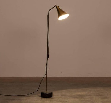 Designer Ignazio Gardella Brass And Marble Floor Lamp