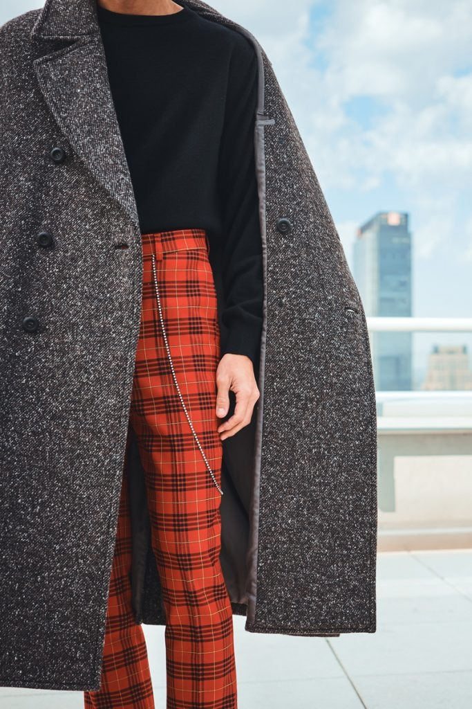 GARCONS INFIDELES Neo Punk Tartan Pants, JULIEN DAVID Classic Double-Breasted Coat