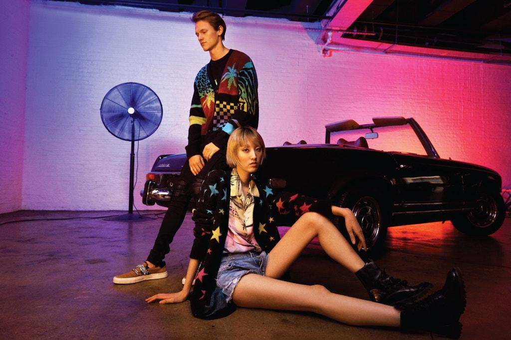 AMIRI Slip-On Suede Bandana Sneaker, AMIRI Star Intarsia Knit Cardigan