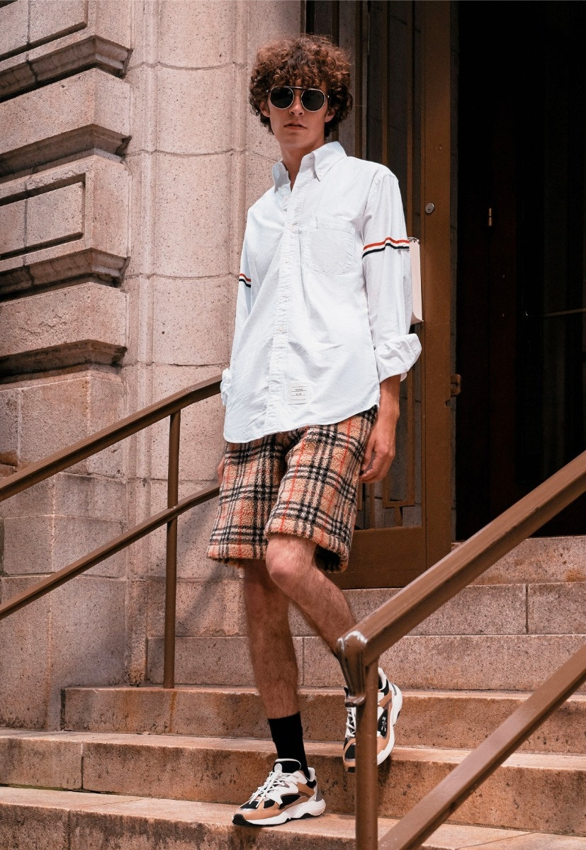 THOM BROWNE Shirt – BURBERRY Vintage Check Drawcord Shorts – DIOR Sneakers – THIERRY LASRY Ghosty Sunglasses