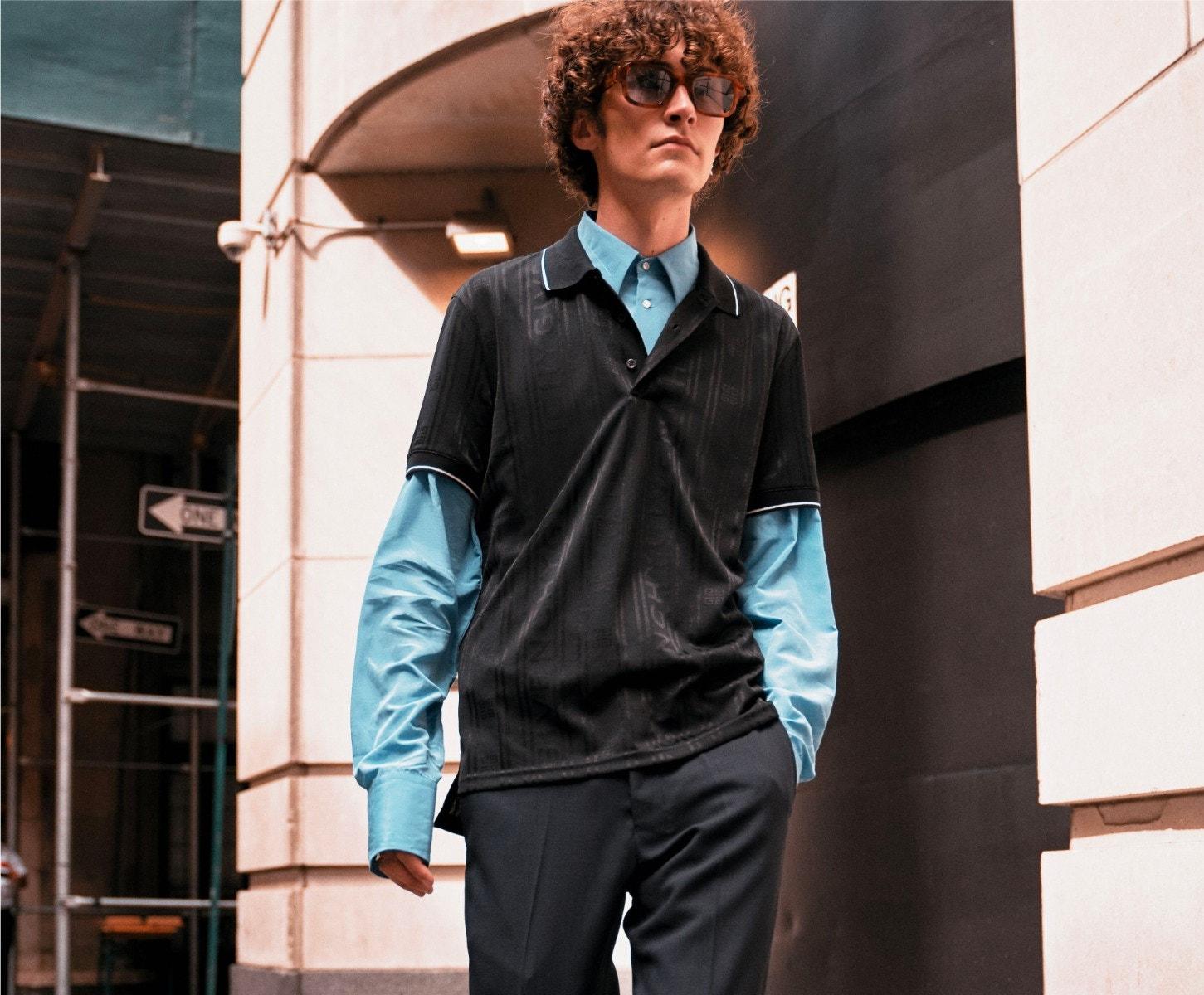 THIERRY LASRY × ENFANTS RICHES DÉPRIMÉS The Isolar Sunglasses – GIVENCHY Polo Shirt – WALES BONNER Shirt – AMI ALEXANDRE MATTIUSSI Trousers