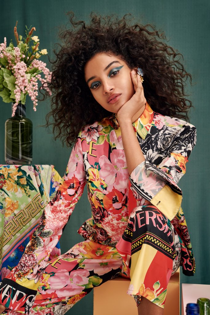 VERSACE Floral Print Blouse and Pants