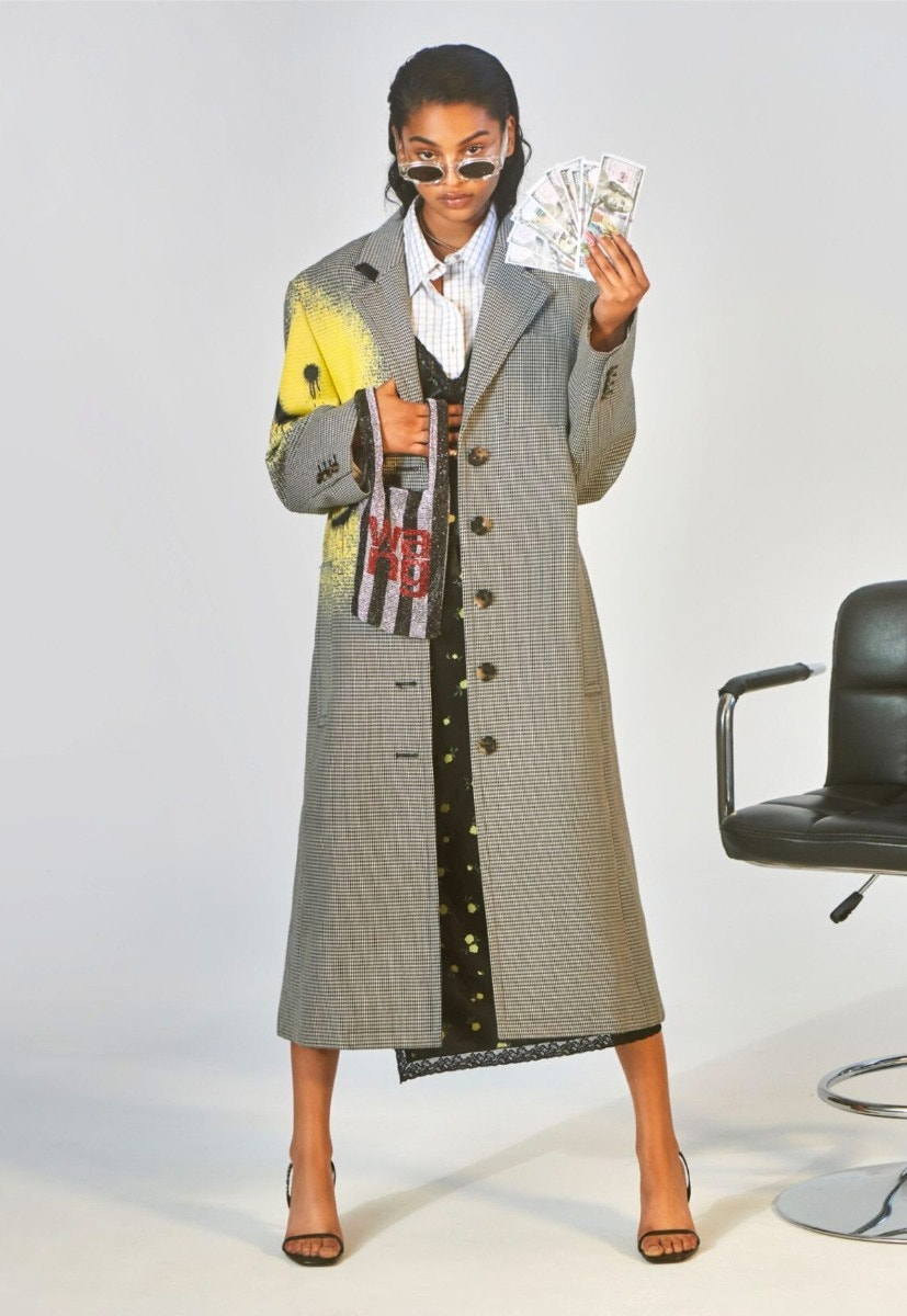 ALEXANDERWANG Smiley Houndstooth Coat – Contrast Panel Shirt Dress – Wangloc Mini Shopper – Ivy Carpetto Embellished Sandal