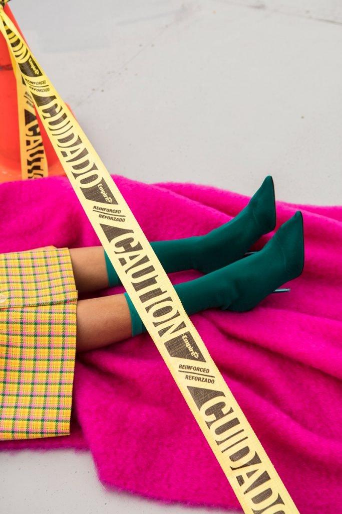 BALENCIAGA Skirt, YEEZY Tranparent Knit Ankle Boot