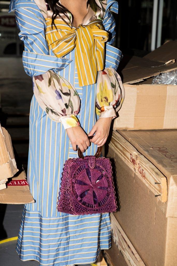 SILVIA TCHERASSI Dress, SILVIA TCHERASSI Bag, THE ROW Coco Flat, LOEWE Vermeer Earrings