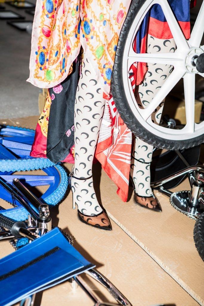 MARINE SERRE Upcycled Scarf Dress, MARINE SERRE Allover Moon Print Leggings, GIANVITO ROSSI Sabin Pumps