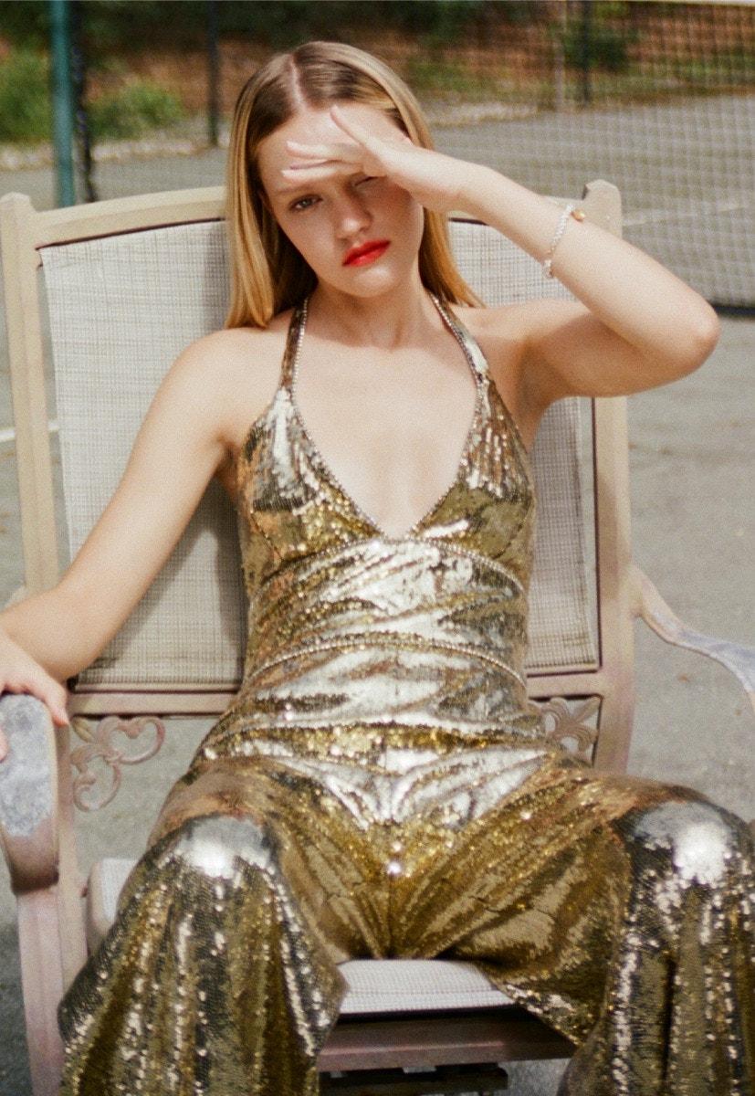 DUNDAS Gold Sequin Jumpsuit – ALIGHIERI L'image Du Passe Bracelet