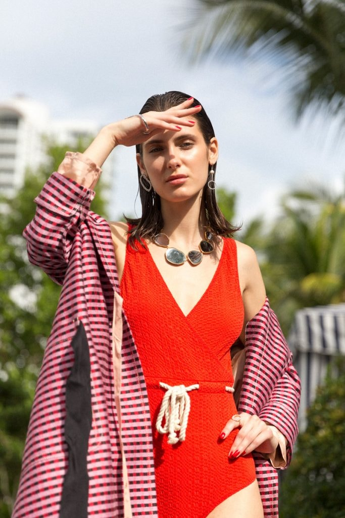 AURELIE BIDERMANN Ciottolo Necklace, DELFINA DELETTREZ Bubble Earring, LISA MARIE FERNANDEZ Swimsuit
