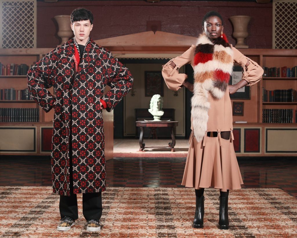 MARNI Fur Stole, SARA BATTAGLIA Loop Strap Cut-Out Dress, GUCCI Double-Breasted Logo Wool Coat, ALANUI Pattern Cardigan, OAMC Trousers, PALM ANGELS Sneakers