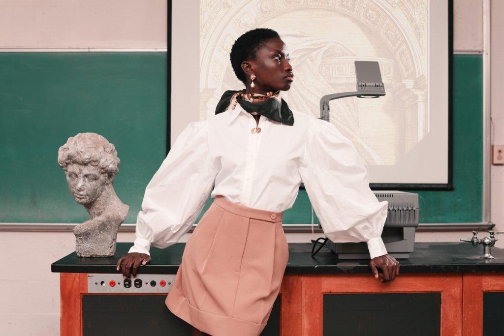 SARA BATTAGLIA Poplin Top, SARA BATTAGLIA Pleated Mini Skirt