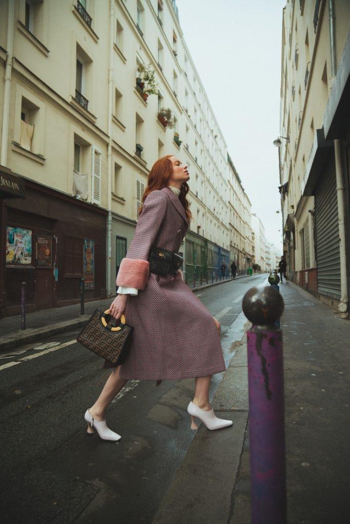 GUCCI GG Marmont Matelasse Belt Bag, FENDI Runaway Shopper Bag, FENDI Coat, SIES MARJAN Boots