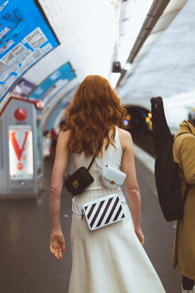 GIVENCHY GV3 Shoulder Bag, WANDLER White Anna Buckle Belt Bag, OFF-WHITE Multi-Way Striped Bag, DIOR Dress