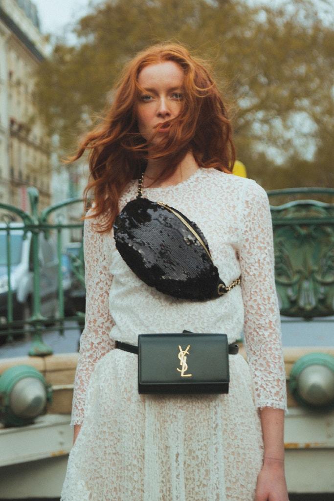 CHANEL Belt Bag, DIOR Dress, SAINT LAURENT Kate Leather Belt Bag