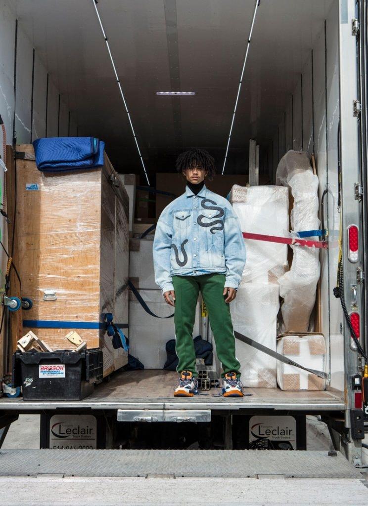 AMIRI Trucker Jacket, ENFANTS RICHES DEPRIMES Turtleneck Jumper, AMI ALEXANDRE MATTIUSSI Track Pants, BALENCIAGA Track Sneakers