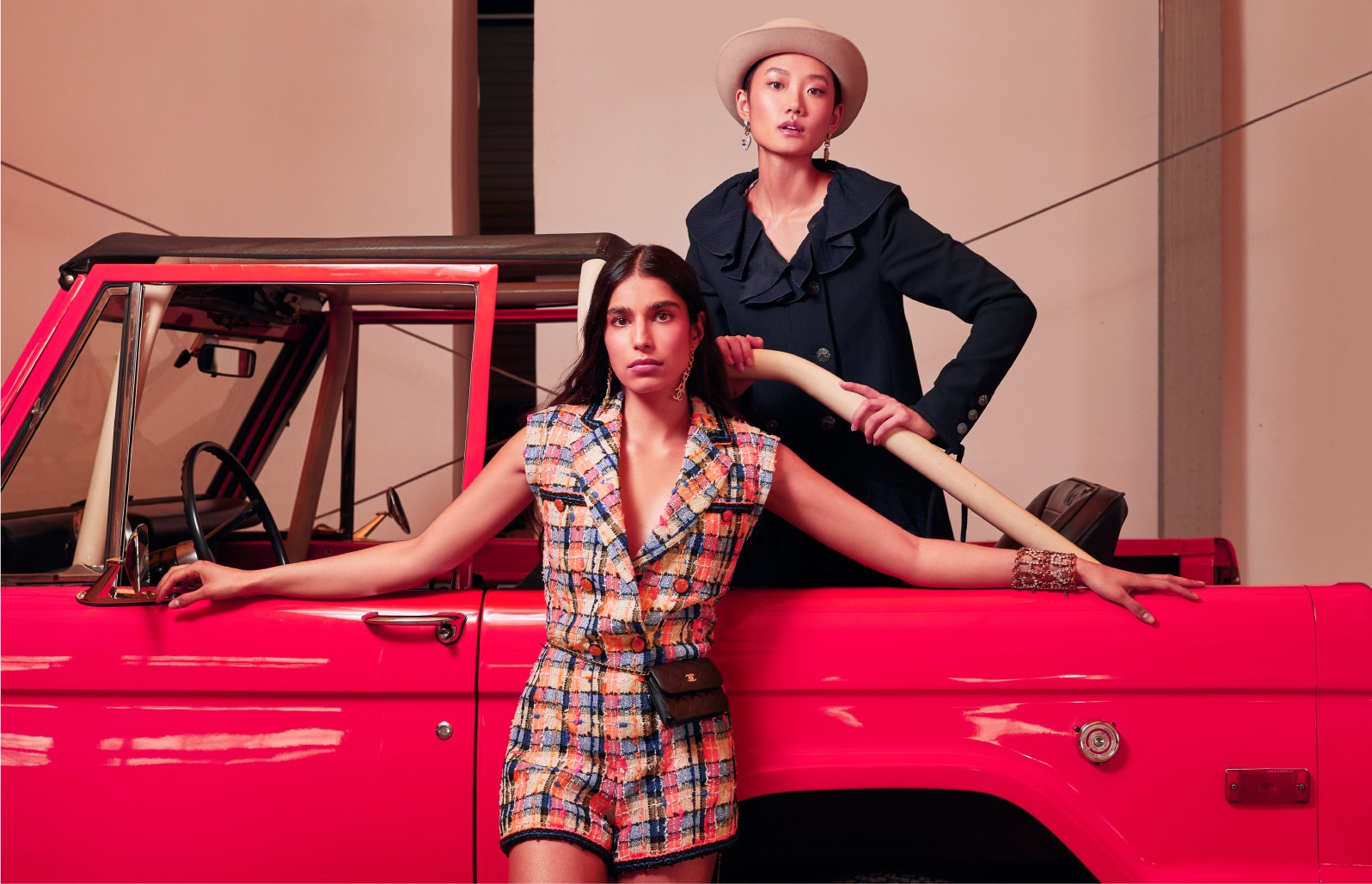 models wearing chanel spring-summer romper and navy jacket