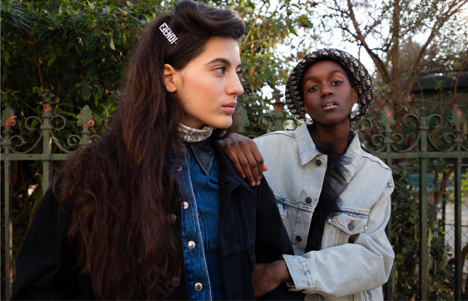 women wearing balenciaga denim Jacket, alexander wang shirt, re/done jeans, fendi hair clip, and dior bucket hat