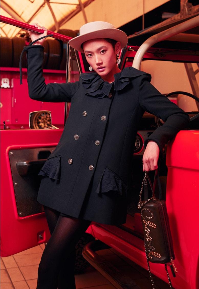 model wearing navy chanel spring-summer 2020 jacket