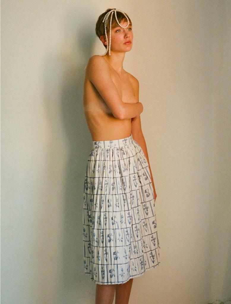 model wearing khaite remy skirt