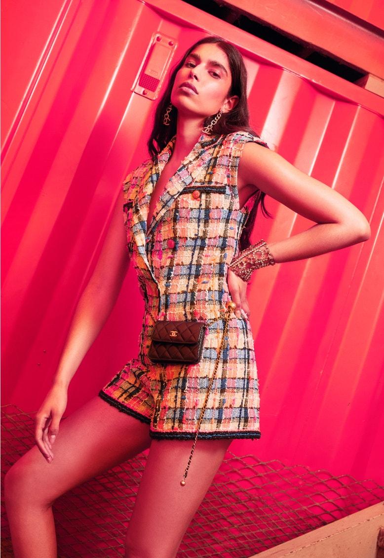 model wearing chanel spring-summer 2020 multicolor tweed jumpsuit