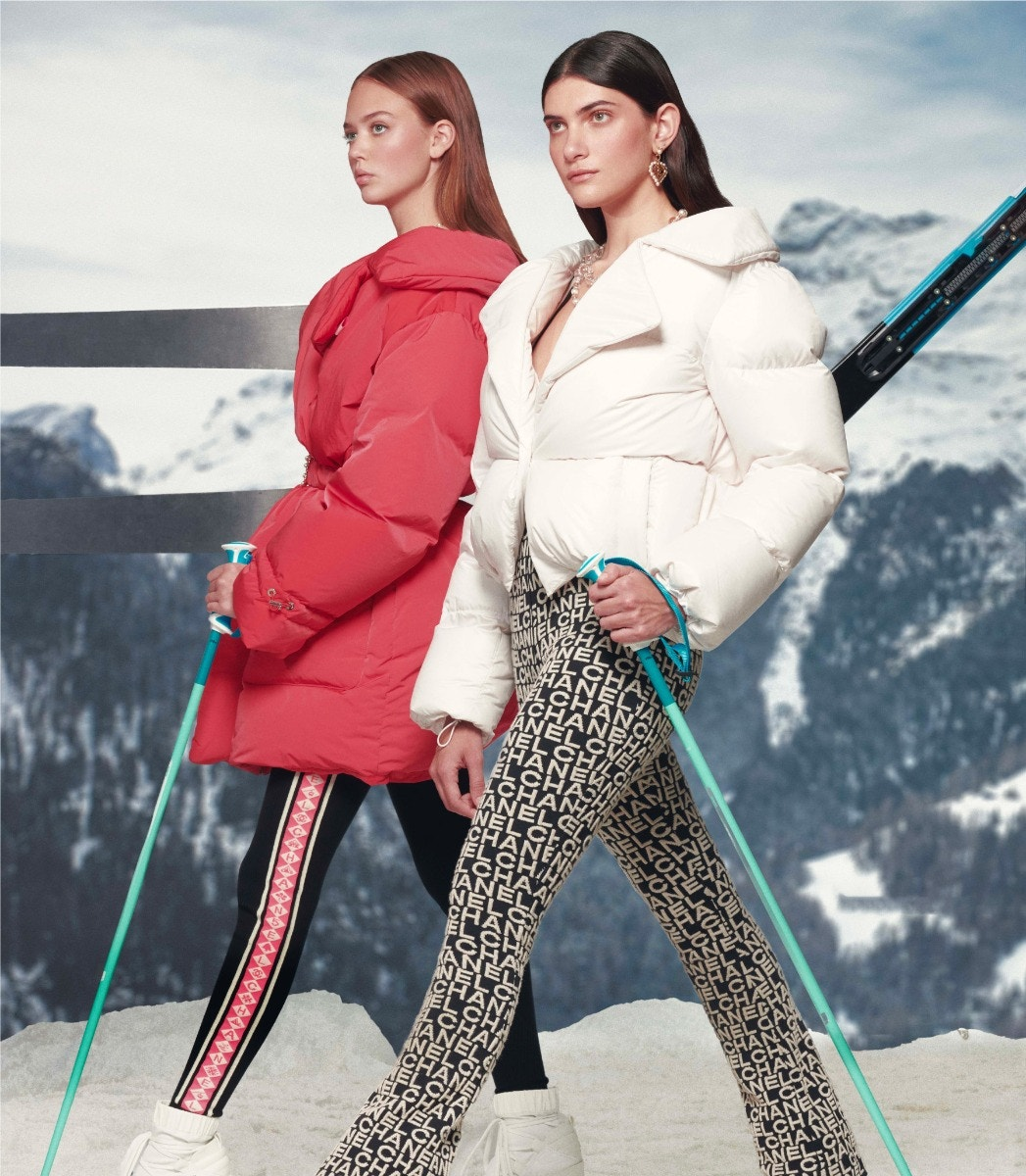 LEFT: CHANEL Puffer – Pants RIGHT: CHANEL Earrings – Necklace – Puffer – Jumpsuit