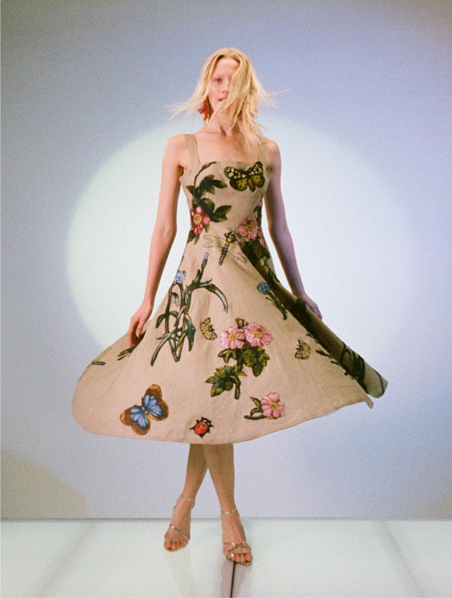 oscar de le renta butterfly and floral dress