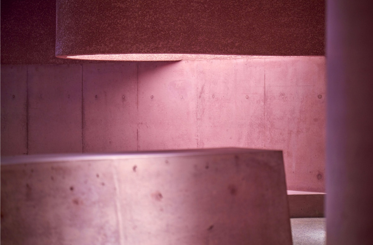 textures of pink concrete inside the webster la