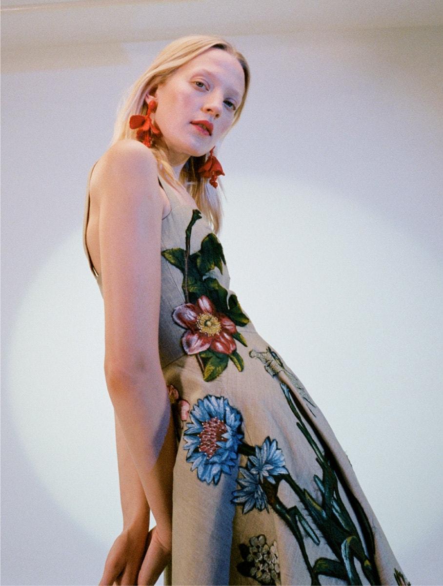 oscar de la renta butterfly and floral dress